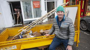 Ger Egan Vodafone store owner at the clean-up. Photo: Daragh Mc Sweeney/Provision