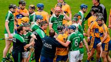 24 May 2015; Limerick manager TJ Ryan attempts to diffuse an incident at the end of the first half which resulted in Patrick Donnellan, Clare, recieving a red card. Munster GAA Hurling Senior Championship Quarter-Final, Clare v Limerick. Semple Stadium, Thurles, Co. Tipperary. Picture credit: D?ire Brennan / SPORTSFILE