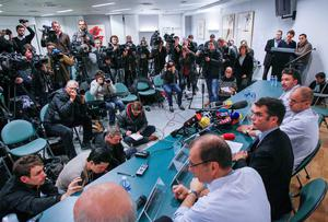 Michael Schumacher's doctors update the media on the Formula 1 legend's condition at the CHU Nord hospital emergency unit in Grenoble.