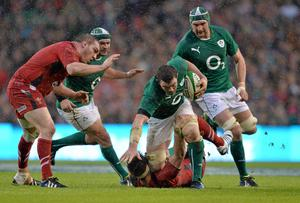 The imperious Peter O'Mahony bulldozes his way past Andrew Coombs on Saturday