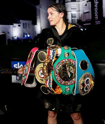 Katie Taylor with her belts after her Undisputed Lightweight Titles fight against Delfine Persoon at Brentwood in Essex