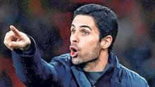 Mikel Arteta makes his point during Arsenal's victory against Leeds which showed a different side of the Spaniard's character. Photo: Eddie Keogh
