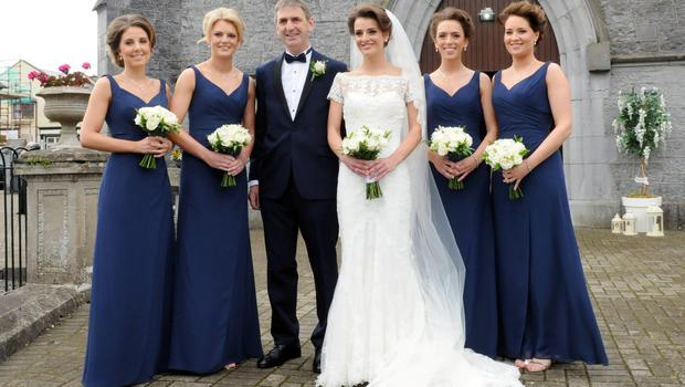 12/6/2015  Attending the Wedding of Irish Rugby player Sean Cronin and Claire Mulcahy at St. Josephs Catholic Church, Castleconnell, Co. Limerick were Bridesmaids Claire O' Sullivan, Niamh Mulcahy, Ger and Daughter Claire Mulcahy, Judith Mulcahy and Fiona Quirke. Pic: Gareth Williams / Press 22