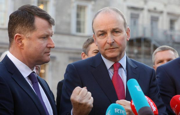 Caution: Micheál Martin (right) at Leinster House last month. Photo: Leah Farrell/RollingNews.ie