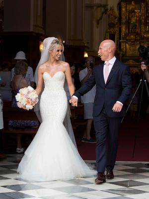 Pics show the wedding of Irish rugby union player Peter Stringer and Deborah O'Leary. Peter, who plays at scrum-half for Sale and Ireland, married his sweetheart today at 1pm at Nuestra Senora de la Encarnacion at the Plaza de la Iglesia, in the old town of Marbella.