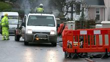 Water meter installers back at work after a local man allegedly pointed a firearm at them at Quay Road, Clarecastle today
