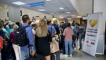 Greek tragedy: Stranded customers at a Thomas Cook counter at Heraklion Airport, Crete. Photo: REUTERS/Stefanos Rapanis
