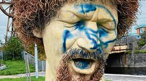 Defaced: Gardaí are investigating after the Luke Kelly statue was vandalised for the seventh time