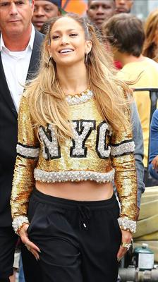 Jennifer Lopez spotted on the set of Fat Joe's music video today in NYC.