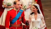 Prince William, Duke of Cambridge and Catherine, Duchess of Cambridge leave Westminster Abbey following their marriage ceremony, on April 29, 2011
