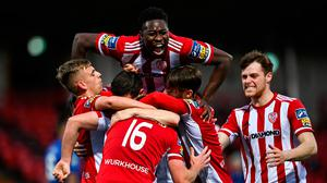 Ibrahim Meite of Derry City, top, celebrates with team-mates after Conor Clifford, 16, scored their second goal during the SSE Airtricity League Premier Division match against Waterford. Photo by Piaras Ó Mídheach/Sportsfile