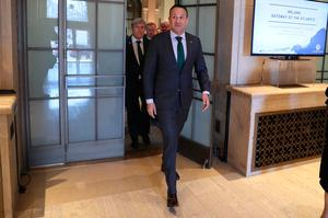 Taoiseach Leo Varadkar arriving at the US Chamber of Commerce in Washington DC during his visit to the US.  PRESS ASSOCIATION Photo. Picture date: Wednesday March 13, 2019.Credit: Brian Lawless/PA Wire