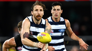 Zach Tuohy in action for Geelong Cats during their AFL Grand Final defeat to Richmond at The Gabba in Brisbane yesterday. Photo: Quinn Rooney