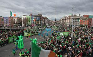 Compare an contrast: Streets are typically heaving on St Patrick's Day. O'Connell St Bridge in 2019