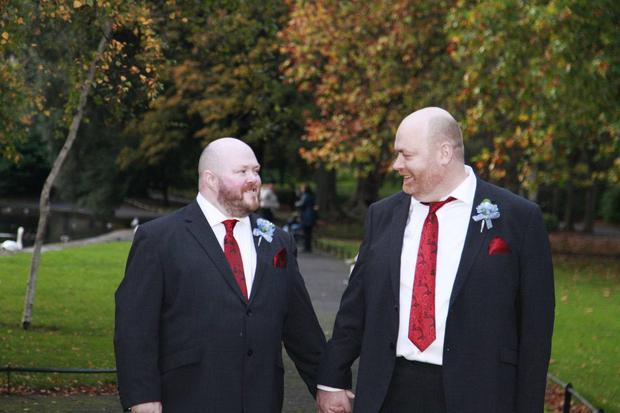 Darren Lamont and Francis Timmons on their wedding day