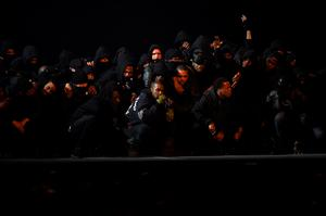 Kanye West performs on stage during the BRIT Awards 2015 at The O2 Arena in London