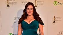 Glowing in green: TV3 presenter Elaine Crowley stole the show at the Iftas Photo: Michael Chester