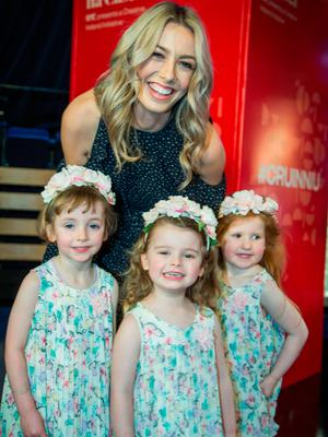 Pictured at The Photo call to launch The Cruinniú na Cásca, an new national day of culture and creativity which will take place on Easter Monday Nationwide, at RTE this morning were; TV presenter Blathnaid Treacy with Mae McCormack (4 and a half), Iseult McNamara (3) and Hailey Assaf (4). Credit: Colin O'Riordan