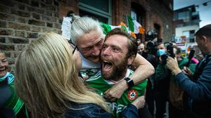 Kellie Harrington's brother Christopher and mother Yvonne celebrates after her daughter, Kellie won an Olympic Gold medal. Pic:Mark Condren 8.8.2021