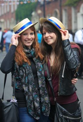 (L to R) Hannah Culkin from Galway & Aisling Egan Roscommon during Bizzare Bloomsday Brunch as part of the Bloomsday Festival on North Great Georges street, Dublin