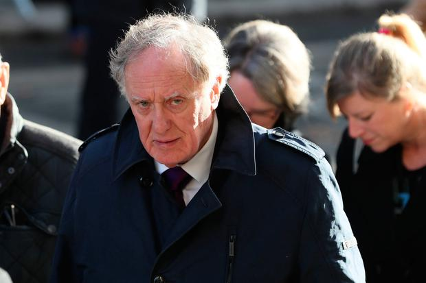 Irish print and broadcast journalist Vincent Browne arrives for the funeral of the celebrated broadcaster Gay Byrne at St. Mary's Pro-Cathedral in Dublin. Brian Lawless/PA Wire