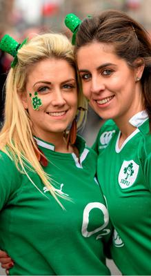 14 March 2015; Ireland supporters Aoife Corbett, form Carrigaline, Co. Cork, and Deirdre Callaghan, form Finglas, Dublin, in Cardiff ahead of the RBS Six Nations Rugby Championship clash between Wales and Ireland at the Millennium Stadium, Cardiff, Wales. Picture credit: Stephen McCarthy / SPORTSFILE
