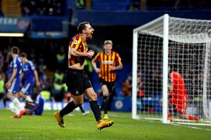 Bradford City's Filipe Morais celebrates after scoring against Chelsea during their FA Cup fourth round soccer match at Stamford Bridge in London January 24, 2015. REUTERS/Stefan Wermuth (BRITAIN - Tags: SPORT SOCCER)