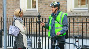 Green Party influence: Minister for Biodiversity Pippa Hackett with Green Party leader Eamon Ryan in Dublin city centre yesterday. Photo: Gareth Chaney, Collins
