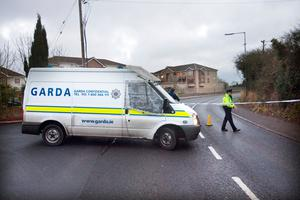 Garda at scene of car crash at Forest Road Swords. Photo: Tony Gavin