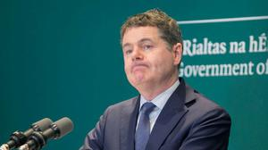 ECONOMIC TROUBLE AHEAD: Minister for Finance and Public Expenditure and Reform Paschal Donohoe TD gives a press conference at Government Buildings last week