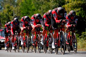 TEAM EFFORT: BMC Racing Team on their way to winning the 35.5-km Stage 3 Team Time Trial from Cholet to Cholet yesterday at the Tour de France. Photo: Benoit Tessier/Reuters