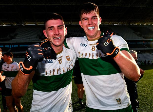 Tipp top: Colin O'Riordan and Steven O'Brien of Tipperary celebrate after their Munster SFC final win against Cork at Páirc Uí Chaoimh. Photo: Sportsfile