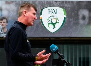 Ireland manager Stephen Kenny during a press conference at FAI Headquarters in Abbotstown, Dublin. Photo: Stephen McCarthy/Sportsfile