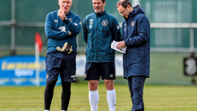 Republic of Ireland manager Martin O'Neill, with assistant manager Roy Keane and goalkeeping coach Seamus McDonagh, as Roy Keane recently posted a gloomy outlook for the future of Irish football by highlighting the age-profile of the current first-choice starting team
