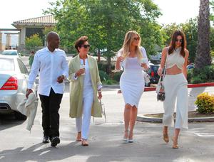 Kris Jenner, Corey Gamble, Kendall Jenner and Khloe Kardashian are seen at church for Easter in Los Angeles on April 05, 2015 in Los Angeles, California.  (Photo by Bauer-Griffin/GC Images)