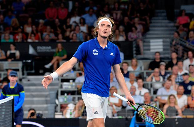 Stefanos Tsitsipas of Greece complains to the umpire in his match against Nick Kyrgios of Australia during day five of the ATP Cup Group Stage at Pat Rafter Arena in Brisbane, Australia. Photo: Bradley Kanaris/Getty Images