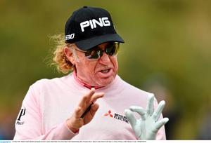 26 May 2015; Miguel ?ngel Jim?nez during his practice round. Dubai Duty Free Irish Open Golf Championship 2015, Practice Day 2. Royal County Down Golf Club, Co. Down. Picture credit: Ramsey Cardy / SPORTSFILE