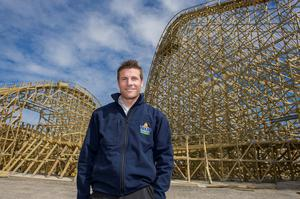 Charles Coyle at Tayto Park, Co. Meath. The new rollercoaster.