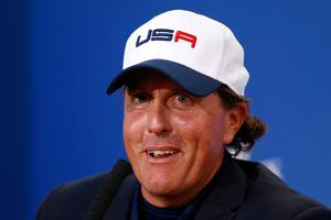 Phil Mickelson of the United States speaks during press conference after the Singles Matches of the 2014 Ryder Cup on the PGA Centenary course at Gleneagles