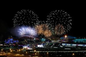 A general view of fireworks over the Olympic park during the Opening Ceremony of the Sochi 2014 Winter Olympics in Sochi