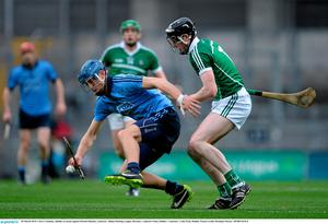 28 March 2015; Chris Crummey, Dublin, in action against Declan Hannon, Limerick. Allianz Hurling League, Division 1, Quarter-Final, Dublin v Limerick. Croke Park, Dublin. Picture credit: Brendan Moran / SPORTSFILE
