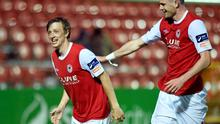 24 April 2015; Chris Forrester, left, St Patrick's Athletic, celebrates with team-mate Ciaran Kilduff, after scoring his side's third goal. SSE Airtricity League Premier Division, St Patrick's Athletic v Sligo Rovers. Richmond Park, Dublin. Picture credit: Paul Mohan / SPORTSFILE