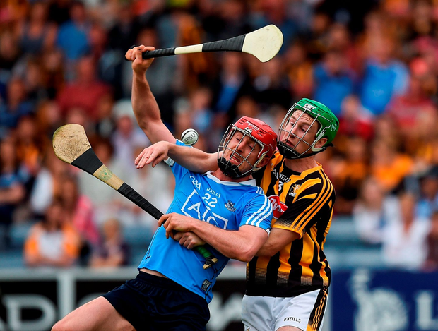 Ryan O'Dwyer of Dublin in action against Joey Holden of Kilkenny