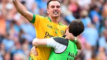 Karl Lacy punches the air after Donegal's semi-final win last year. Lacey is going the extra mile this year to make sure Donegal are back at the business end of the Championship under Rory Gallagher this season