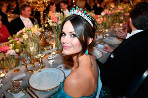 Princess Sofia of Sweden poses before a royal banquet to honour the laureates of the Nobel Prize 2019 following the Award ceremony on December 10, 2019 in Stockholm, Sweden. (Photo by Jonathan NACKSTRAND / AFP)