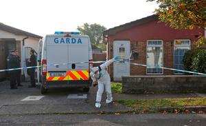 Gardai at the scene on Willowbrook Park, Celbridge Co. Kildare where the body of a man was found last night. A man has been arrested in connection with the incident...Picture Colin Keegan, Collins Dublin