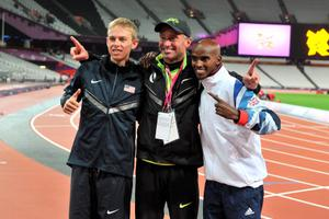 File photo dated 04-08-2012 of Great Britain's Mo Farah (right) celebrates winning the Men's 10,000m final  with Silver Medalist USA's Galen Rupp (left) and coach Alberto Salazar