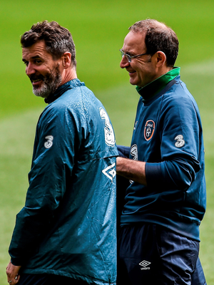 Roy Keane and Martin O'Neill share a joke during yesterday's open training session at the Aviva Stadium ahead of today's behind-closed-doors friendly against Northern Ireland