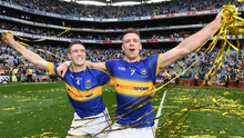 Michael Cahill and Pádraic Maher celebrate Tipperary's All-Ireland final victory over Kilkenny, but there are concerns that the hurling championship could be overshadowed by football's Super 8. Photo: Sportsfile