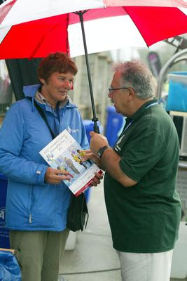 Volunteer Mary Brett Kelly and Dr. Narih Eldin at HSE Community Games in AIT Athlone. Photo molloyphotography